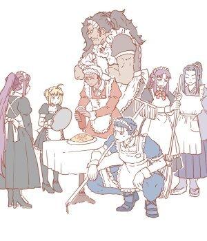 『Fate/stay night』のサーヴァント七騎がメイド姿で集うイラスト